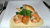 Broiled seafood with flaky pastry