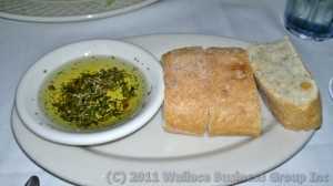Fresh bread with herbed olive oil